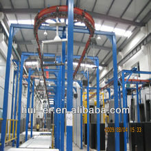 Compact hardware powder spray coating line
