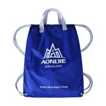 Factory price eco-friendly wholesale custom nylon blue drawstring bag