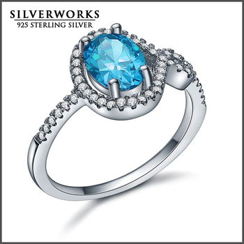 Classic Design 925 Sterling Silver Ring Cut Aquamarine Design fashion Ring