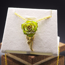 Top Sweety Gift Chinese Style Designed 24K Gold Rose Necklace with Real Rose dipped