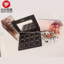 High quality cardboard empty magnetic eyeshadow palette with mirror/Custom cardboard eyeshadow palette packaging manufacturer