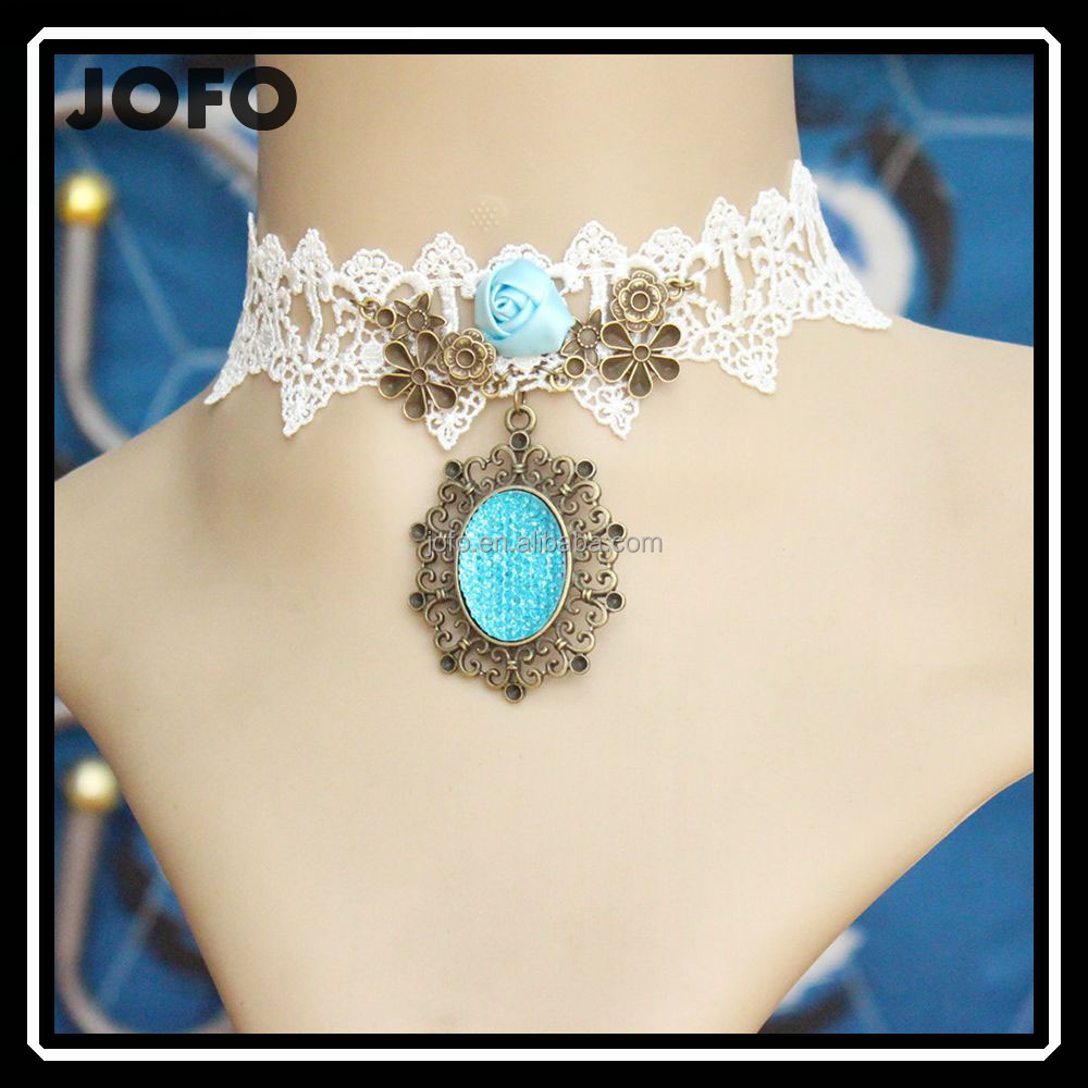 Wholesale Handmade Love Sea White Lace Necklaces & Pendants False Collar Fashion Women Accessories Gothic Jewelry