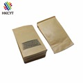 Plain glossy brown kraft paper food packaging paper bags with window