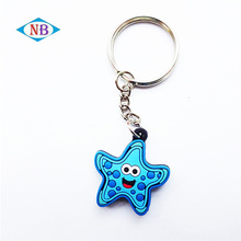 Custom 3d soft pvc key chain custom rubber star keychains