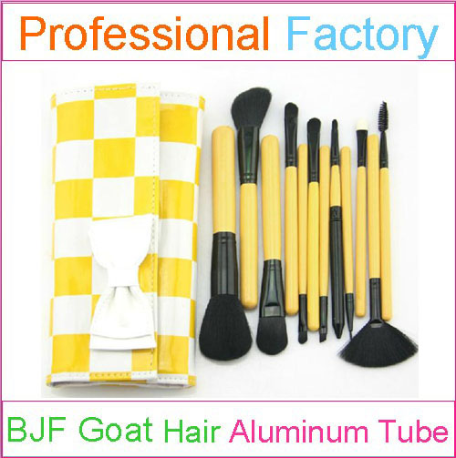 12pcs yellow handle cosmetic brush set with private logo cosmetic brushes customized