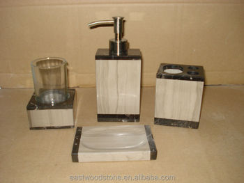 White and black marble bathroom accessory set buy white - Black marble bathroom accessories ...