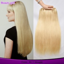 High quality good reputation tinsel blonde virgin human Straight hair extensions golden perfect brazilian hair prices
