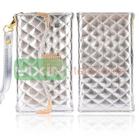Hot Silver wallet leather back cover for samsung i9300 galaxy s3 flip case
