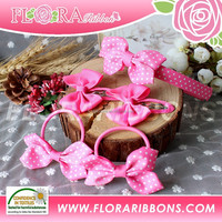Popular design baby polka dots printing grosgrain hair accessory set