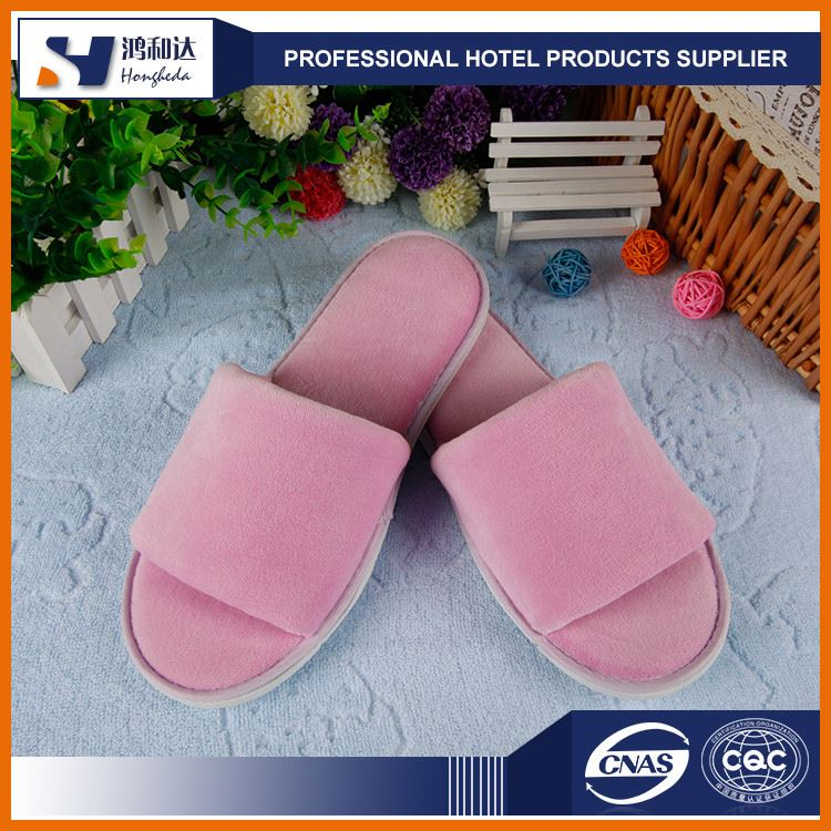 2017 factory price pink velvet one time use hotel slipper