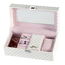 Professional Factory Supply Popular Portable Rings Earrings Storage Leather Fabric Jewelry Box