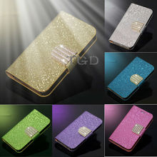 Luxury Glitter Diamond PU Wallet Leather Phone Cases For Samsung Galaxy S4 I9500,Fancy Cell Phone Cover Case For Samsung Galaxy