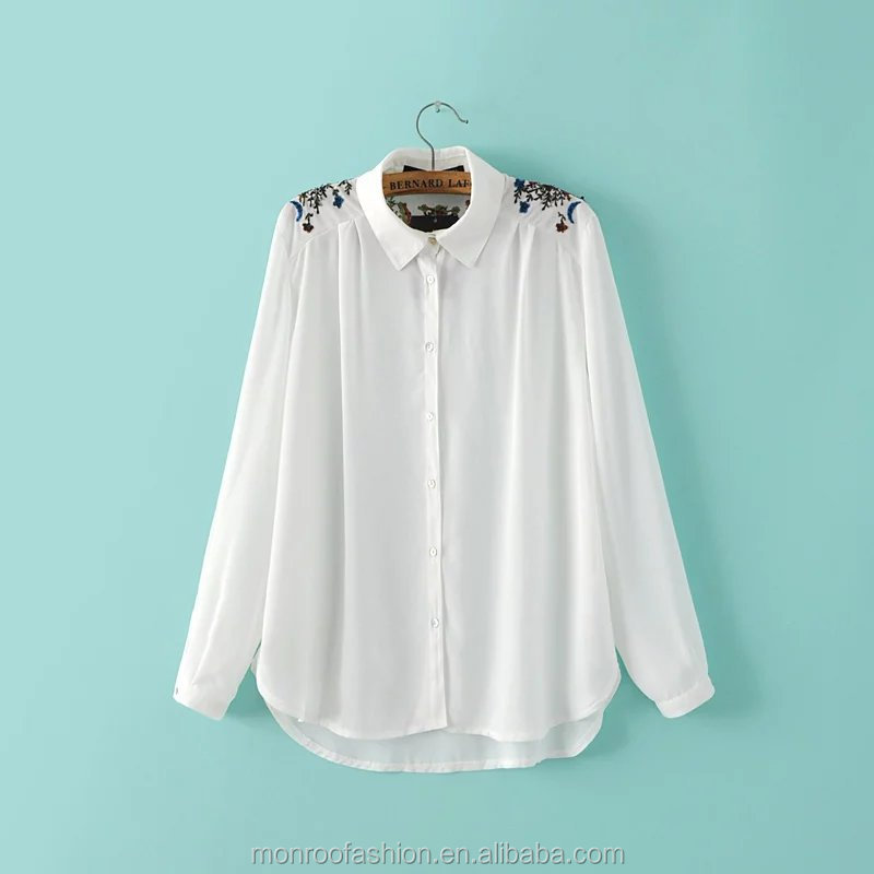 monroo Europe and the United States spring and summer fashion new ultra-thin embroidery beaded sequins shirt