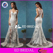 Alibaba Golden Supplier Lace Appliqued Sleeveless Beaded Sexy High Slit Wedding Dress 2017