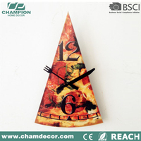 Pizza shape kitchen decorative wall clock , creative quartz rhythm triangle clock