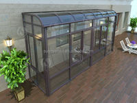 100% UV protection sunroom with aluminum frame polycarbonate roof.