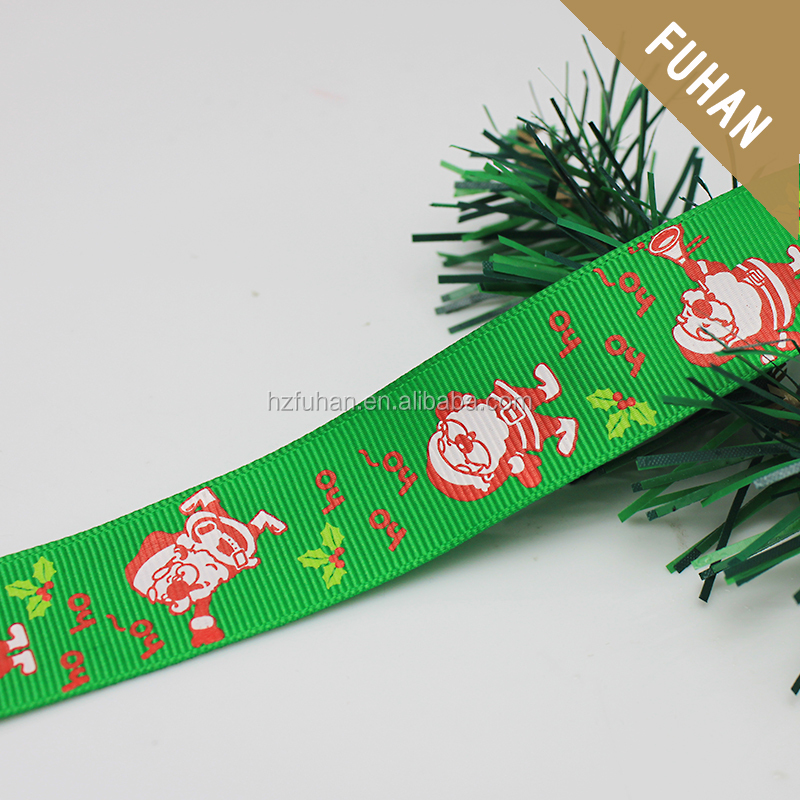 Wholesale father christmas Logo Fancy Printing Green Polyester Ribbon