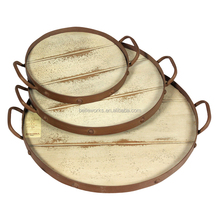 Set 3 Antique Round Wooden Serving Tray With Metal Handles