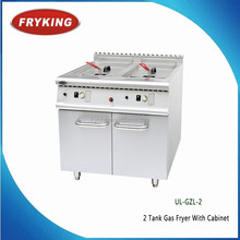 Professional Kitchen Equipment Gas Deep Fat Fryer With Cabinet