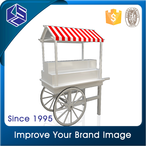 Commerical modern senior movable MDF wooden candy cart for candy store