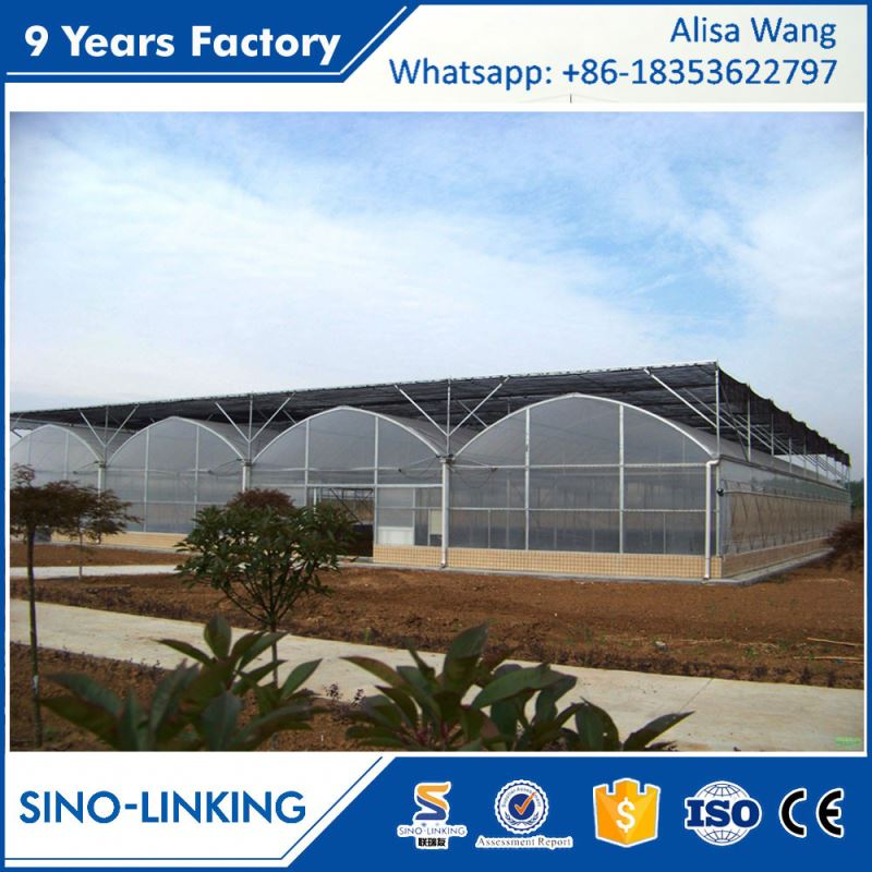 SINOLINKING 200 micron uv resistant plastic film gutter hydroponics greenhouse for tomatoes