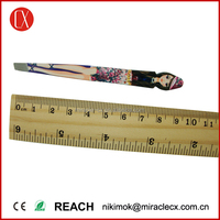 Stainless steel good quality girl face shaped printing eyebrow tweezers beauty tweezer