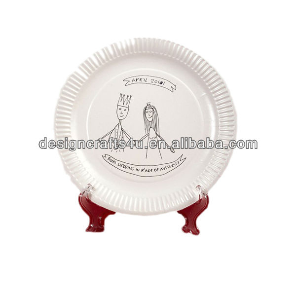 Prince & Princess Happily Living Together Ceramic Wedding Plates