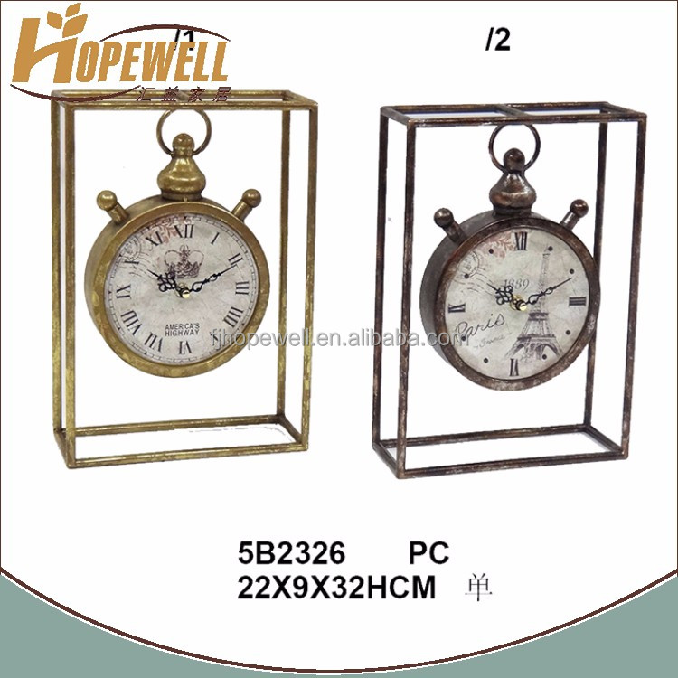 antique metal golden table decoration clock swing