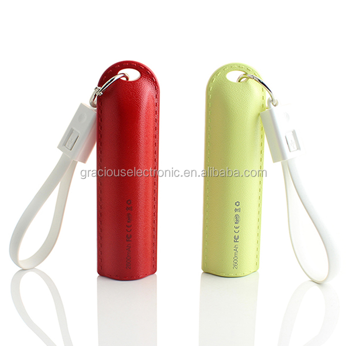 New printing logo gift items 2000mah capacity power bank with 2 in 1 keychain cable