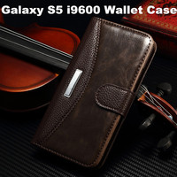 New Listing Leather Stand Wallet Case with Magnet Buckle For Samsung Galaxy S5 i9600
