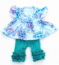 Children Girls Cotton Fresh Watercolour Cute Tortoise Tunic Top With Blue Icing Shorts Wholesale Beauty Tunic Sets