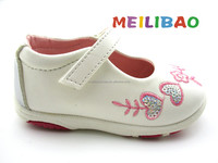 2017 wholesale new style soft sole leather PU cute plain white baby shoes