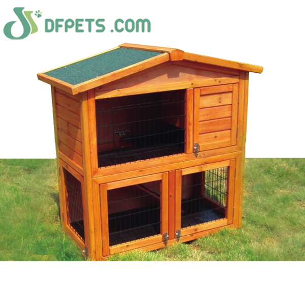 Large High Quality Double Decker Outdoor Wooden Rabbit Hutch with 2 Metal Trays DFR052