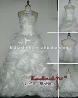 EB1276 Fashionable Custom Made Elegant A-line Organza Layered Ball Gown Wedding Dresses Long Train