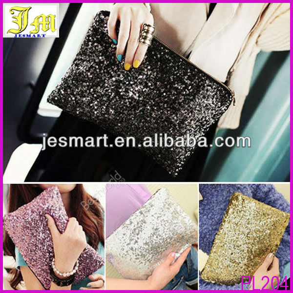 2014 Best Selling Glitter Sparkling Sequins Pouch Clutch Evening Party Bag Handbag Wallet Purse