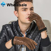 Mens Fashion Brown Touch Screen Leather