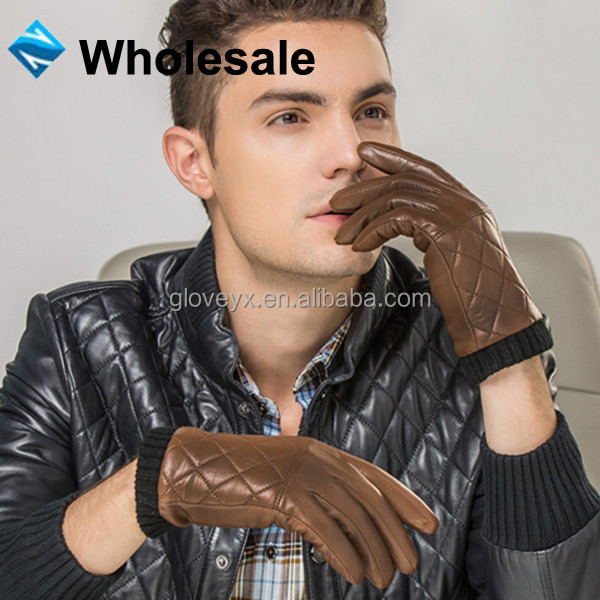 Mens Fashion Brown Touch Screen leather gloves