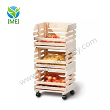 Exhibition bakery vegetable and fruit wooden display shelf for supermarket