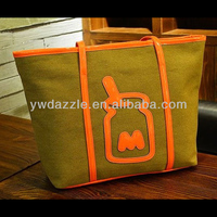 2015 fashion new design long handle wholesale plain canvas tote bags