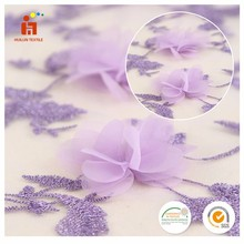 China textile cotton mesh 3D flower applique lace fabric embroidered