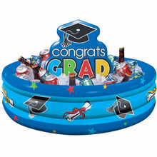 Inflatable graduation cooler pool float buffet cooler