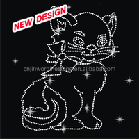 Funny cat rhinestone animal iron on transfers FY45 (19)