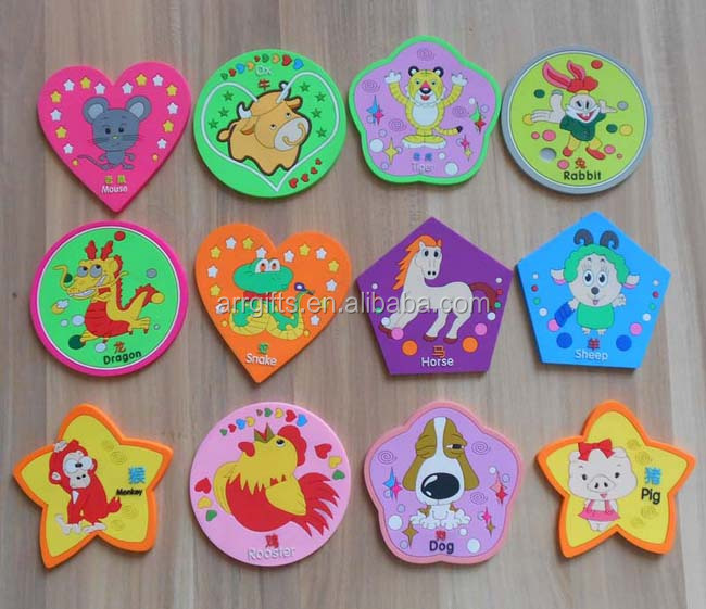 twelve Chinese zodiac signs coaster customized flower shape round and heart shape PVC cup mat