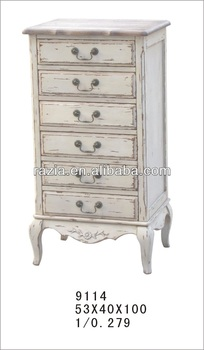 2014 Vintage antique furniture cabinet with six drawers birch wood 9114