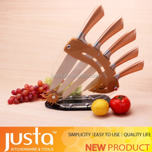 Gold handle stainless steel knife & hot sale new on European market steel head knife set for kitchen
