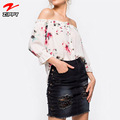 2018 Newest Floral Off Shoulder Women Blouse Latest Summer Blouse&Top