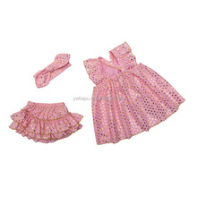 Cheap china factory wholesale kids clothing baby girls sparkle swing outfits fashion children clothing sets