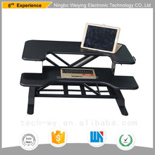 Hand crank wooden adjustable portable laptop table