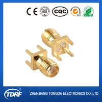 sma rf connector pcb mount brass gold plated factory