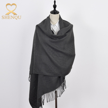 Solid color cheap long shawl multifunctional winter women tassel scarf